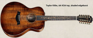 2014 Taylor K66e 12 string guitar, AA KOA top, back and sides