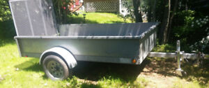 Great 4 x 8 galvanized trailer with steel mesh loading ramp.
