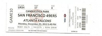 CANDLESTICK FAREWELL SAN FRANCISCO 49ERS VS ATLANTA FALCONS TICKET STUB 12/23/13