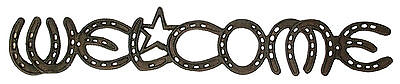 Cast Iron  Welcome Horseshoe Sign Plaque Wall Mount Western Decor