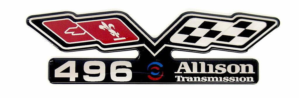 Chevy 496 Allison (flags) Emblem Super Sized Black/satin