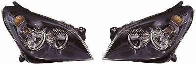 Vauxhall Astra H MK5 2004-2009 Halogen Black Front Headlight/Headlamp Pair NEW