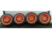 "15"" Wolfrace Alloy Wheels Multifit Corsa Saxo Vauxhall Citreon Refurbished Orange"