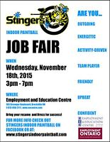 Job Fair for Stingers Paintball at EEC on November 18 3 pm to 7