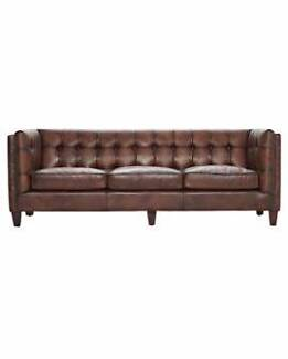 """""""Avon"""" Studded Leather Chestnut Sofa Available in 2 Sizes!"""