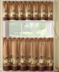 Kitchen Tier Curtains with matching Valance - 3 pieces each