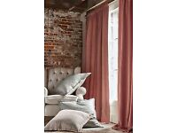 """brand new next coral lined curtains, wide 89 by 90"""" antrim"""