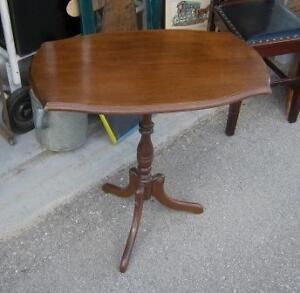 Vintage Small Single Pedestal Accent Table
