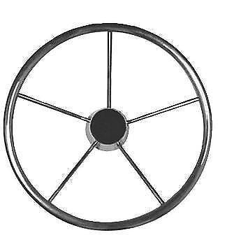 """NEW 15-1/2"""" Destroyer 5-Spoke SS Steering Wheel w/finger grip SSSW15.50X4.00-F"""