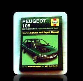 HAYNES CAR SERVICE AND REPAIR MANUAL - PEUGEOT 106 - FOR SALE