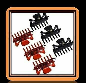 6  PIECES  PLASTIC  HAIR  CLIPS  -  WOMENS  HAIR  CLAW  CLAMPS  (BLACK  AND BROWN)  -  FOR SALE, used for sale  Thornliebank, Glasgow