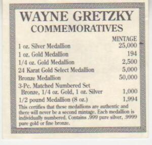 WAYNE GRETZKY 1994 PROOF SET  1 OZ.  B, S, 1/4 OZ PURE  GOLD Gatineau Ottawa / Gatineau Area image 3