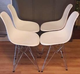 Contemporary Dining Chairs White with metal legs