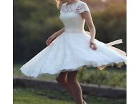 House of Mooshki Sarah Tea Length Bridal Wedding Dress Worn Once Size 8