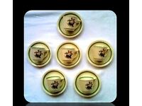VINTAGE ROYAL COPENHAGEN 'QUAKING GRASS' DEMITASSE CUPS AND SAUCERS - FOR SALE.