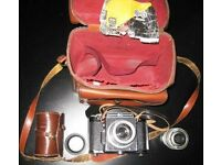 4 VINTAGE FILM CAMER/ VIDEO CAMERA LOT- WITH YELLOW COPPER TRIPOD - 200 Pounds