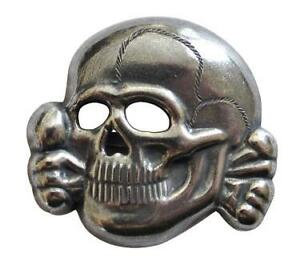 GERMAN ARMY CAP INSIGNIA - METAL SKULL - WW2 REPRO