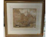 Pencil and watercolour original painting of Nyhavn waterfront, Copenhagen - £10.00