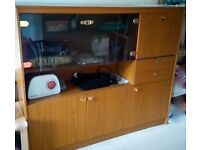 Price Slashed!Like new - Display cabinet for sale , solid wood with glass unit & light connection