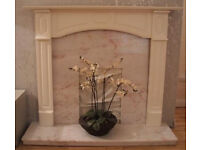 Marble Hearth and fire back and white mantlepiece