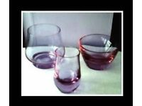 LILAC GLASS BOWLS/VASES - 3 ITEMS - FOR SALE