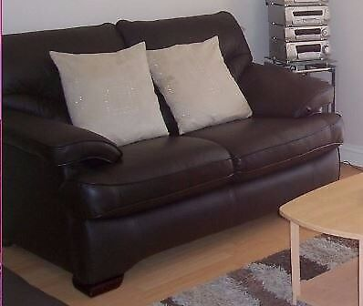 3 Piece Brown Leather Suite Sofa Set Reclining heavy quality
