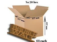 New/Unused Double walled packing box 18 x 18 x 18 in or 457 x 457 x 457 mm (L x W x D)