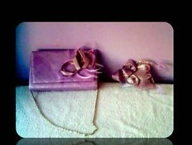 LADIES LILAC HANDBAG & FASCINATOR/HAIRPIECE - FOR SALE