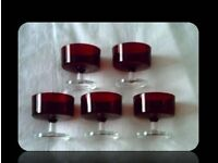RUBY RED DESSERT GLASSES - SET OF 5 - FOR SALE