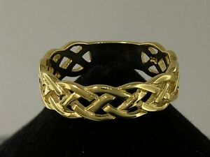 R005- 9ct SOLID Yellow Gold KELTIC Celtic Wedding  Band Ring size Q