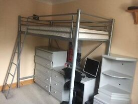 High-sleeper bed - metal, very solid construction with good matress, from a non-smoking, no-pet home