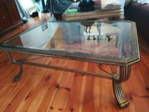 Brass & Glass Coffee Table & 2 Matching End Tables