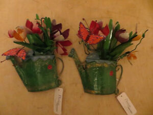 Metal Flowers in Watering Can Wall Decor London Ontario image 1