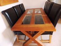 SOLID OAK/GLASS TOP DINING TABLE AND SIX LEATHER CHAIRS