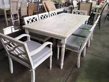 9pce Outdoor Dining Suite White Wash Eucalyptus 2100x1000 Revesby Bankstown Area Preview