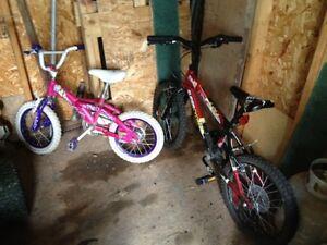 2 Vélos pour Enfants fille et garçon