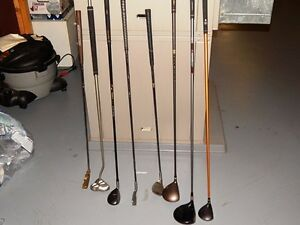 Golf bags and clubs