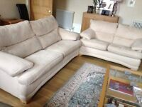 Matching 3 seater and 2 seater magnolia nubuck settees in excellent condition
