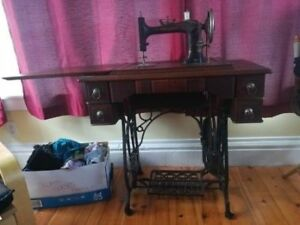 Antique Sewing Machine, Table & Accessories