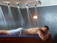 Full body wax,Massage,Facial,Scrub massage w/steam,Sauna for men