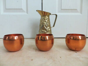 Yellow brass Teapot with 3 Cups London Ontario image 1