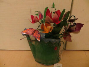 Metal Flowers in Watering Can Wall Decor London Ontario image 3