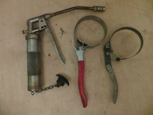 Grease Gun and 2 Strap Wrench