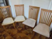 Four Heavy Oak Framed Dining Chairs to re-cover - £40 for the four
