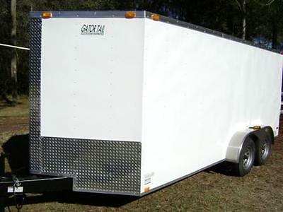 7x16 V Enclosed Trailer tube frame  v nose, white, LED, Ramp, NEW