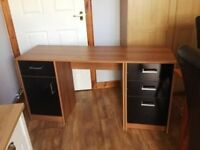 Small desk with side cupboard and 3 drawers hardly used good condition -photo to follow