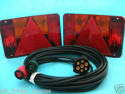 2 x Radex 5800 5 Pin Plug In Trailer Lamps with 4 metre Wiring Loom Harness