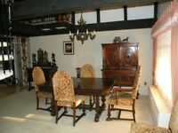 Dining Room Set c.1930 -Antique Solid Walnut- 6 CHAIRS