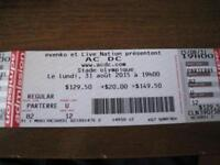 AC/DC TICKETS FOR AUG. 31 AT THE OLYMPIC STADIUM - FLOOR SEATS