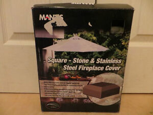 Square - Stone and Stainless Steel Fireplace Cover
